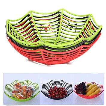 Plastic Spider Web Fruits Candy Basket Spiderweb Bowl Halloween Party Decor