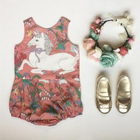 USA Kids Baby Girls Flower Unicorn Romper Bodysuit Jumpsuit Outfit Clothes wea