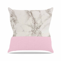 "Suzanne Carter ""Marble And Pink Block"" Modern Contemporary Throw Pillow"