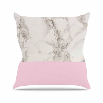 "Suzanne Carter ""Marble And Pink Block"" Modern Contemporary Outdoor Throw Pillow"