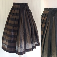 1950s vintage brown & black striped polished cotton voile pleats full sweep midi pinup skirt // matching belt // size S