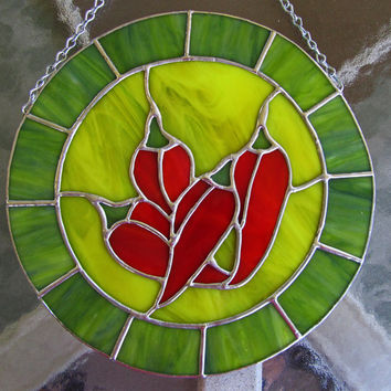 Red Chili Peppers Stained Glass Sun Catcher ~ Southwestern Style Stained Glass ~ Home Decor