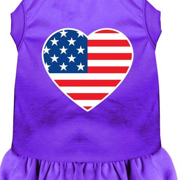 American Flag Heart Screen Print Dress Purple Xl (16)