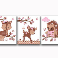 Pink brown nursery art woodland wall decor fox poster kids room decoration baby girl bedroom artwork children art baby shower toddler gift