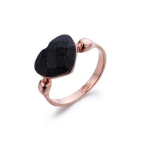 18K Gold Plated Black Stone Heart Ring Jewelry