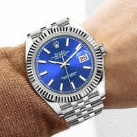 Rolex Fashionable Couple Casual Business Sport Movement Lovers Watch Blue