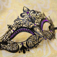 Gorgeous Laser Cut Venetian Mardi Gras Masquerade Mask with Sparking Purple Rhinestones