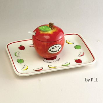 Apple & Honey Dish Set, Ceramic, With Tray & Spoon, Clr Box