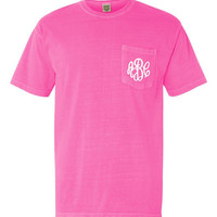 Short Sleeve Pocket Comfort Colors Tee Shirt - Monogrammed