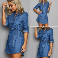 Lace Up Front Tie-Waist Denim Dress