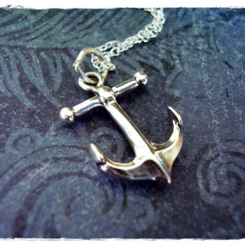 Large Nautical Anchor Necklace - Sterling Silver Nautical Anchor Charm on a Delicate 18 Inch Sterling Silver Cable Chain