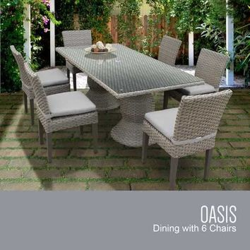 Oasis Rectangular Outdoor Patio Dining Table with 6 Armless Chairs