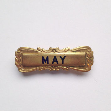 Vintage Art Deco brass May girls' name pin brooch -  Christening or Naming gift, child, birthday, spring time