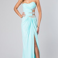 Long Strapless Dress with Side Cut Outs by Faviana 7304