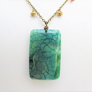Large Green Fire Agate Rectangle Pendant Necklace with Dangly Gold Pearlson Long Bronze Chain, Mineral Specimen, Long Necklace