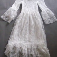 Womens Korean Mini Dress Lace Casual Off-shoulder Whites Flared Sleeves Hot 4738