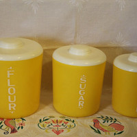 SALE! Three Vintage Yellow Like Lustro Ware Round Plastic Canisters, Flour, Sugar, Coffee- Kitchen Canisters- Storage