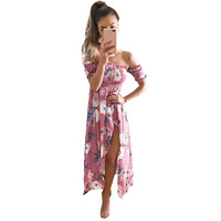 Off Shoulder Summer Dress Women Boho Short Sleeve Flower Printed Maxi Dresses vestidos Sexy Pink Split Beach Long Dress