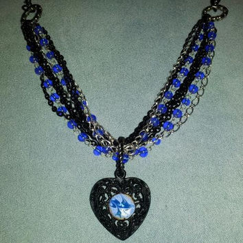 Statement Necklace Heart Necklace with Cobalt, Blue and White Copper Enameled Stone