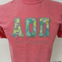 Sorority Greek Stitched Letter T-shirt w/Embroidered Sorority: Leahbethdesigns