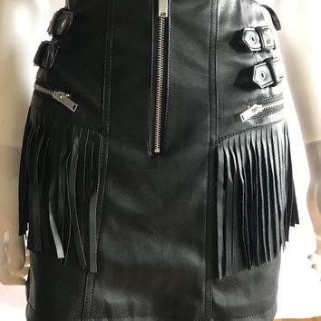 Faux Leather Fringe Mini Skirt Size L