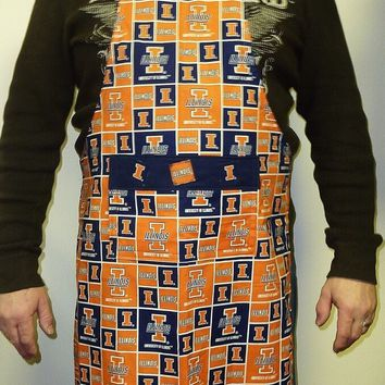 University of Illinois Apron, College Football, Mens and or Womens Apron, Graduation Gift
