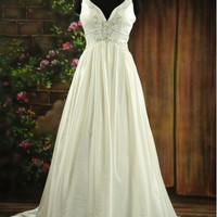 Custom make  Customize   A-line V-neck Chapel Train Taffeta   Wedding Dress