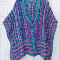 Wrap, Shawl, New, Gorgeous Handmade Multi-Colors of Teal, Pink, Rose, and Purple, open sleeves, V-Neck with three toggle buttons, Wool yarn