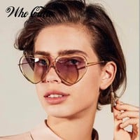 WHO CUTIE Love Heart Shape Sunglasses Women 70S Wire Frame 2018 Vintage Retro Thin Cat Eye Sun Glasses Gradient Lens Shades 641