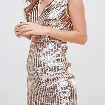 Golden Plain Sparkly Sequin High Waisted Deep V New Year Mini Dress