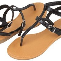 Womens Roman Gladiator Sandals Flats Thongs 2 buckle Shoes 4 colors (8, Black 2554)