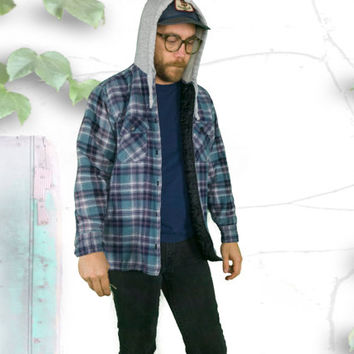 Quilted Purple & Teal Plaid Insulated Flannel Hoodie