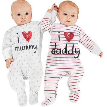 Funny Newborn Baby Cotton Long Sleeve Rompers Love Mummy Daddy Clothes