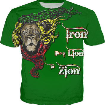 Iron like a Lion, in Zion. Green rasta tshirt, Reggae music themed tee shirt design