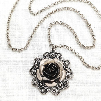 Black Rose Necklace, Black Rose Pendant, Flower, Black Metal, Antique Silver, Necklaces for Women, Dark Jewelry, Victorian, 549