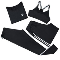 Women yoga set shirt bra shorts pants black grey striped sports suit for lady gym outdoor clothes tracksuit