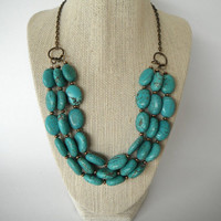 Turquoise Blue Green Necklace with Brass Spacers by SycamoreSticks