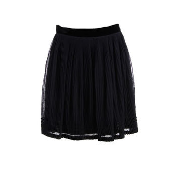 Alberta Ferretti Womens Accordion Pleat Tulle Tiered Skirt