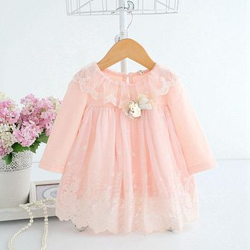 0-2Y Newborn Cute Baby Embroidery Cotton Dresses 2 Color