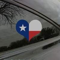 Texas Flag Heart Car Window Decal