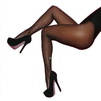Sexy Women Fishnet Stockings Shiny Crystal Rhinestone Mesh Stocking Tights Pantyhose Black Brown Red Blue Mesh Fishnet Pantyhose