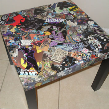 Joker and Batman Comic Collage Table