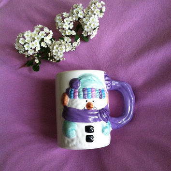 Snowman Mug Vintage 3D Snowman Coffee Tea Cocoa Mug Ceramic Winter Themed Mug Purple Handle Aqua Orange Fun Colorful Snowman Mug