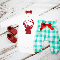 Girls Christmas Pants Outfit | Red Glitter Deer Christmas Top Mint Gingham High Waisted Pants | Complete Baby or Toddler Christmas Set
