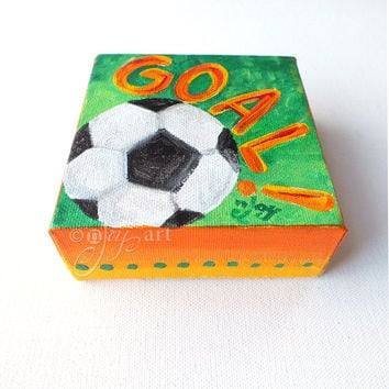 GOAL! 4x4 inch mini acrylic soccer painting, daily doodle art