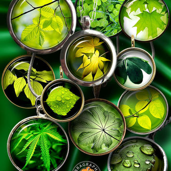 """Green Leaves - Digital Collage Sheets - 1.5"""", 1.25"""", 30mm, 25mm, 1"""" circles - Printable Downloads for Jewelry Making, Bottle Caps - CG-904"""