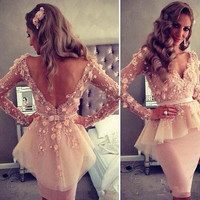 Vimans Sexy V Neck Lace Beaded Tulle Cocktail Dresses with Long Sleeves Short Mermaid Prom Party Dress V Back Design LD295