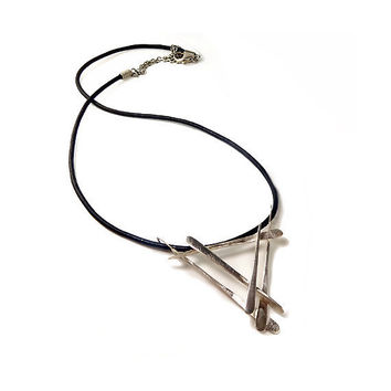 "NECKLACE ""SanGaku"".  Minimalistic, Modern, Geometric. Forged and Hammered. Sterling Silver."