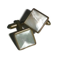 50's Mother of Pearl Cuff Links, Square Cut Vintage MOP Cufflinks, 60s Mid Century Groom Wedding, Mens Classic Vintage Jewelry Accessory