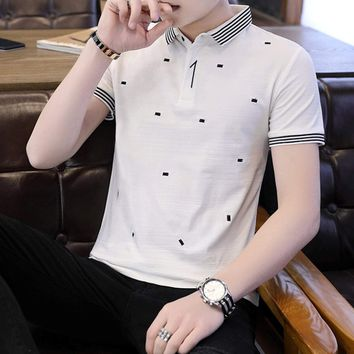 Mens Black And White Printed Polo Shirt